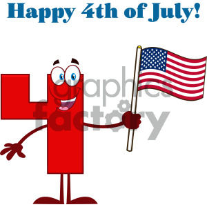 Happy Red Number Four Cartoon Mascot Character Waving An American Flag With Text Happy 4 Of July clipart. Commercial use image # 404522