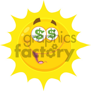Royalty Free RF Clipart Illustration Funny Yellow Sun Cartoon Emoji Face Character With Dollar Eyes And Smiling Expression Vector Illustration Isolated On White Background clipart. Commercial use image # 404527
