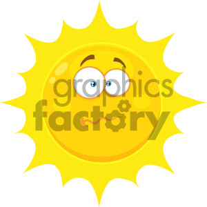 Royalty Free RF Clipart Illustration Nervous Yellow Sun Cartoon Emoji Face Character With Confused Expression Vector Illustration Isolated On White Background