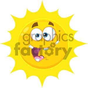 Royalty Free RF Clipart Illustration Crazy Yellow Sun Cartoon Emoji Face Character With Expression Vector Illustration Isolated On White Background