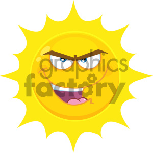 Royalty Free RF Clipart Illustration Evil Yellow Sun Cartoon Emoji Face Character With Bitchy Expression Vector Illustration Isolated On White Background clipart. Commercial use image # 404543