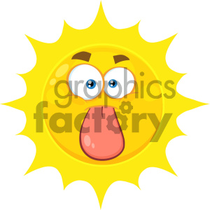 Royalty Free RF Clipart Illustration Funny Yellow Sun Cartoon Emoji Face Character Stuck Out Tongue Vector Illustration Isolated On White Background