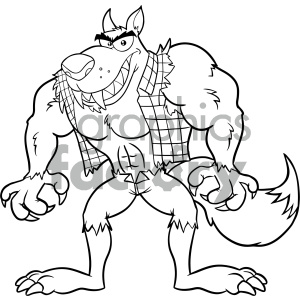 Clipart Illustration Black And White Angry Werewolf Cartoon Mascot Character Vector Illustration Isolated On White Background