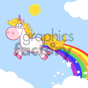 Clipart Illustration Smiling Magic Unicorn Cartoon Mascot Character unicorn Making Rainbows Vector Illustration With Background clipart. Commercial use image # 404582