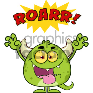 Green Monster Cartoon Emoji Character Roaring Vector Illustration Isolated On White Background With Text