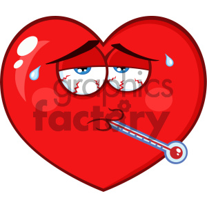 Sick Red Heart Cartoon Emoji Face Character With Tired Expression And Thermometer Vector Illustration Isolated On White Background clipart. Royalty-free image # 404618