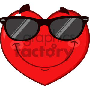 Smiling Red Heart Cartoon Emoji Face Character Wearing Sunglasses Vector Illustration Isolated On White Background clipart. Commercial use image # 404628