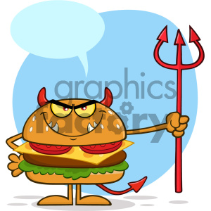 Angry Devil Burger Cartoon Character Holding A Trident Vector Illustration Isolated On White Background With Speech Bubble clipart. Commercial use image # 404640