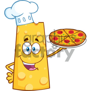 Cheese Cartoon Mascot Character Holding A Pizza Vector Illustration Isolated On White Background clipart. Commercial use image # 404660