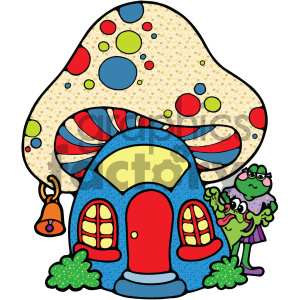 cartoon animals vector PR mushroom house home frog toad