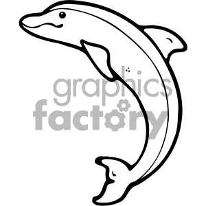 cartoon clipart dolphin 001 bw clipart. Royalty-free image # 404828
