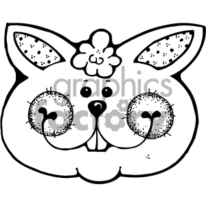cartoon clipart bunny 003 bw clipart. Royalty-free image # 404844