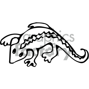 cartoon clipart gecko 001 bw clipart. Royalty-free image # 404858