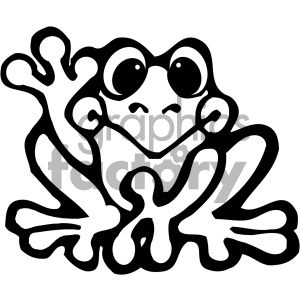 cartoon clipart frog 017 bw clipart. Royalty-free image # 404894