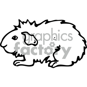 cartoon clipart guinea pig 001 bw clipart. Commercial use image # 404904