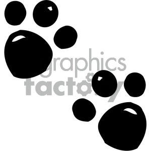 cartoon clipart animal tracks 001 bw clipart. Commercial use image # 404954