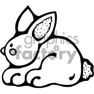 cartoon clipart bunny 005 bw clipart. Royalty-free image # 405008