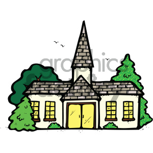 cartoon buildings architecture vector church religion worship PR