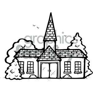 cartoon buildings architecture vector church religion worship black+white PR