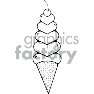 heart ice cream cone outline