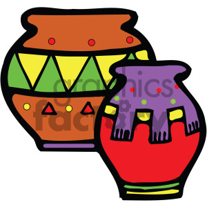 cartoon native american pottery vector clipart. Royalty-free image # 405132