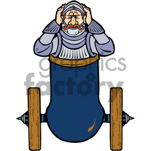 knight in a cannon clipart. Commercial use image # 405325