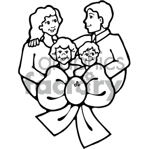 black and white family vector art clipart. Commercial use image # 405335