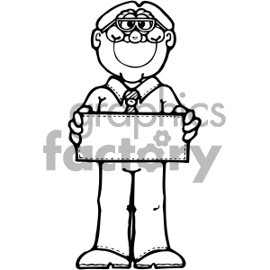 black and white man holding blank sign clipart. Royalty-free image # 405346