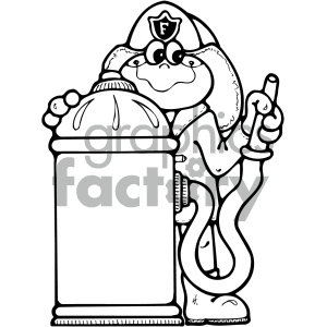 black and white fire fighting frog clipart. Commercial use image # 405351