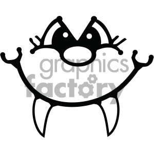 black and white cartoon face with fangs clipart. Commercial use image # 405371