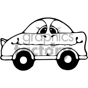 black and white cartoon car clipart. Royalty-free image # 405471