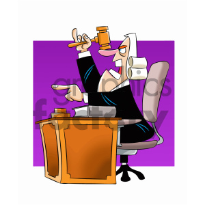 cartoon supreme court justice giving a judgement clipart. Commercial use image # 405585