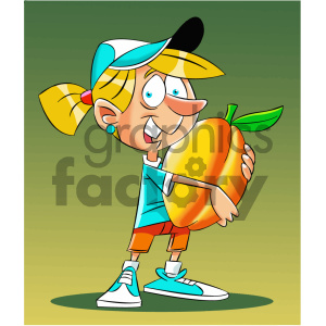 cartoon girl holding huge peach clipart. Commercial use image # 405609