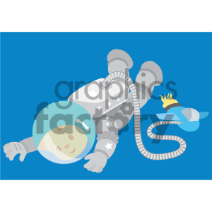 boy astronaut floating in space vector illustration clipart. Royalty-free image # 405983
