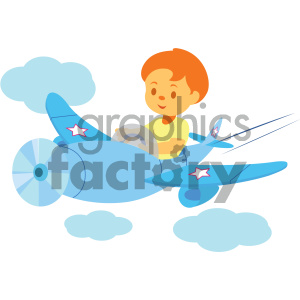 boy flying an airplane vector illustration clipart. Royalty-free image # 405994