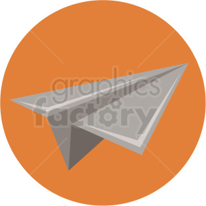paper airplane icon with orange circle background clipart. Royalty-free image # 406053