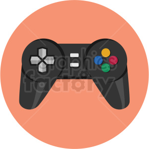 game controller icon with peach circle background clipart. Royalty-free image # 406064