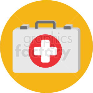 first aid kit icon with yellow circle background clipart. Royalty-free image # 406092