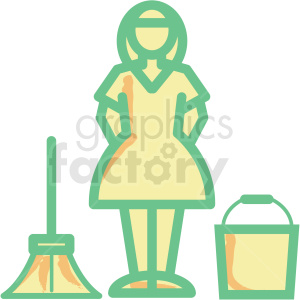 maid flat vector icon clipart. Commercial use image # 406314