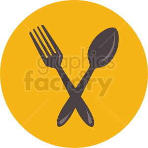 fork and spoon icon clipart with circle background clipart. Royalty-free image # 406656