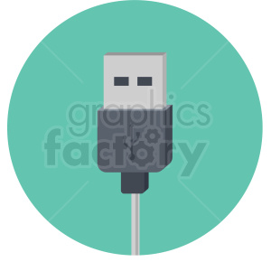 usb plug vector flat icon clipart with circle background clipart. Royalty-free image # 406675