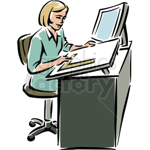 A Woman Sitting at a Desk Using a Ruler on A Large Piece of Paper
