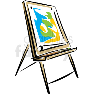 A Peice of Art on an Easel clipart. Commercial use image # 156292