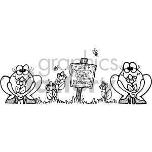 black and white frogs smelling flowers clipart. Royalty-free image # 406983