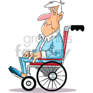 cartoon senior in wheelchair life step 5 clipart. Royalty-free image # 407025