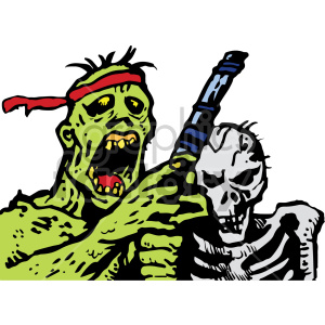 zombie and skeleton illustration clipart. Royalty-free image # 407034