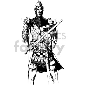 warrior with a sword illustration clipart. Commercial use image # 407038