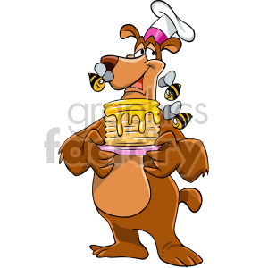 cartoon bear holding plate of pancakes