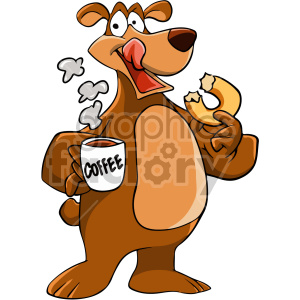 animal cartoon bear coffee doughnut donut breakfast