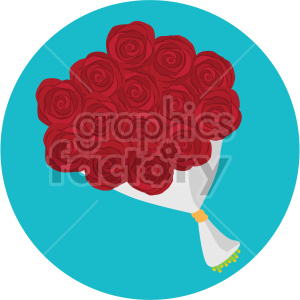 red rose bouquet vector icon on blue background clipart. Commercial use icon # 407456